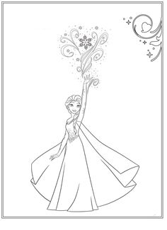 The Frozen - Coloring page Elsa Frozen Coloring Pages, Coloring Pages For Grown Ups, Disney Princess Coloring Pages, Disney Princess Colors, Coloring Pages For Kids, Frozen Drawings, Disney Drawings, Fathers Day Coloring Page, Costume Design Sketch