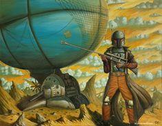 Steampunk Boba Fett and his Slave One airship by Myke Amend