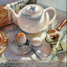 Vonnie Whitworth | WATERCOLOR | Egg Cup Food Painting, Coffee Painting, Still Life Art, Paintings I Love, Coffee Art, Gcse Art, Watercolor Lesson, Watercolor Paintings, Watercolours