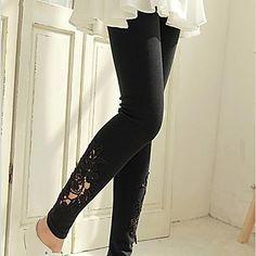 Women's Black/Gray Skinny Hollow Flower Lace Leggings 2016 - $5.99
