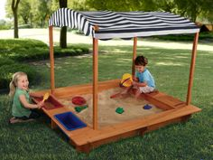 Who needs a beach?? This wooden sand box is great for the backyard. Plus, it comes with a canvas cover to shield your child from the sun on those hot summer days.