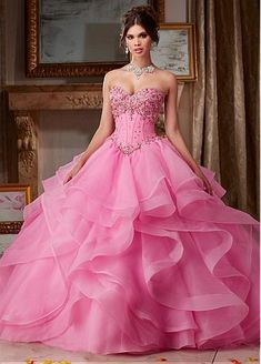 Junoesque Organza Sweetheart Neckline Ball Gown Quinceanera Dresses With Beadings