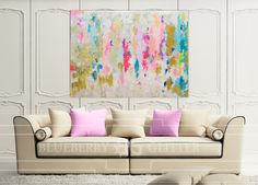 """mixture of acrylic paints, recycled glass, and resin coating to create a truly unique and serene abstract original. The painting has a """"glass coat"""" layer of epoxy resin to add a thick high gloss sheen to piece. Looks beautiful in natural light!!  The colors include shades of gold, white, green, pink, purple, blue, lilac, fuchsia, navy, iridescent glitter, and touches of real gold leaf."""
