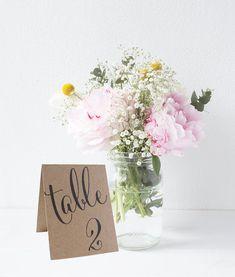 Tentes mariage Table signes numériques, cartes de Table face Double, tentes Table Decor, numéros de Table teintée