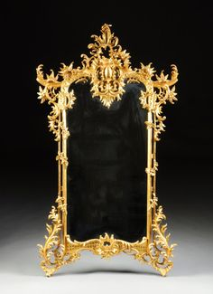 A LARGE ROCOCO REVIVAL PARCEL GILT AND CARVED WOOD : Lot 126 Fancy Mirrors, Hall Of Mirrors, Vintage Mirrors, Antique Frames, Mirror Photo Frames, Wood Mirror, Art Frames, Mirror Mirror, Golden Mirror