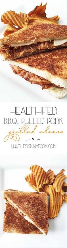 Healthified BBQ Pulled Pork Grilled Cheese - Yep. Smoked gouda and pork tenderloin slathered in BBQ sauce. TheSkinnyFork.com