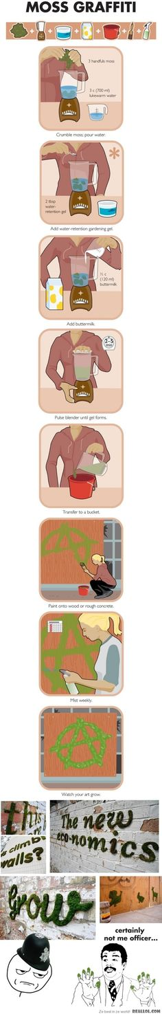 Picture-recipe showing how to make paint-able moss that grows on walls.  Think of the stenciling ideas for the garden!