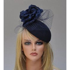Navy Fascinator, Cocktail Hat, Navy Pillbox, Hatinator, Navy Button... ❤ liked on Polyvore featuring accessories, hats, navy hair fascinators, formal hats, navy fascinator, navy blue fascinator and navy hat
