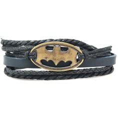 Batman Rope and Leather Adjustable Unisex Charm Bracelet ($14) ❤ liked on Polyvore featuring jewelry, bracelets, charm bracelet, adjustable bangle, leather jewelry, unisex jewelry and leather bangles