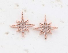 Cubic Star Pendant . Rose Gold Plated over Brass   1 by wishwrist, $5.80