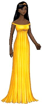 Grace is an adult female paper doll. She has dark brown skin and long, straight black hair. She has starry eyes and a slight smile. She is wearing a sunny yellow off-the-shoulder gown with an empire waist decorated by three orange opals, as well as a gold tiara decorated with more opals.