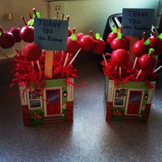Apple cake pops for the teacher. Make cake pops. Dip in red chocolate melts, pretzel for stem and mike and Ike for leaf.