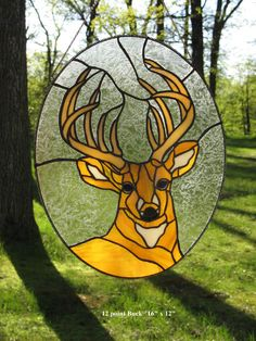 Stained Glass 12 point buck oval