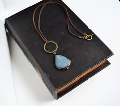 Blue Bohemian Long Necklace, Abstract Black and Blue Stone Necklace, Long Drop Boho Jewelry, Canadian Jewelry