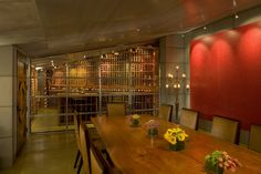 A wine cellar and tasting room carved out of an excavated hillside in La Jolla, Calif.