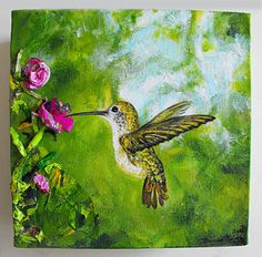 """Hummingbird's Green Escape"" Original 10x10 Acrylic Painting on 3"" canvas by Brianna, SOLD"