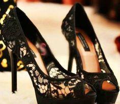 Black Lace Peep Toe Heels