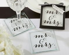 Classic Mr. and Mrs. Coasters Black & white wedding, wedding decor, mr & mrs wedding, black & white coasters