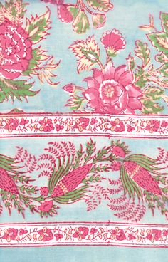 Table Linens in Briar Rose Aqua Indian Block Print, Indian Prints, Crochet Leaves, Crochet Flower, Paisley Pattern, Pattern Fabric, Paisley Design, Briar Rose, Border Print