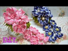 In this video, I try my hands on making a Hana Kanzashi Sakura with a Golden Hair Comb Clip and long streamers of tsumami petals. There are many tutorials already by other Kanzashi Artists, and mine may not be the perfect one. But I hope you will like i Kanzashi Tutorial, Flower Headband Tutorial, Fabric Flower Tutorial, Ribbon Art, Fabric Ribbon, Ribbon Crafts, Flower Crafts, Satin Ribbons, Ribbon Flower