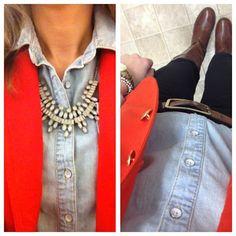 Orange blazer, chambray and statement necklace.