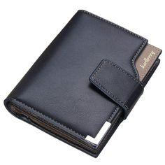3 Fold Men Wallets Leather Fashion Solid Mans Short Purse Cards Holder Coin Purses Man Bilfold Pouch Button Billfold Carteira