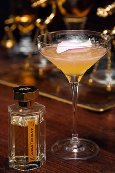 Combine your scent with your drink as an unforgettable aphrodisiac pair. The scent: Safran Troublant, by L'Artisan Parfumeur    THE DRINK: 1 ½ oz Dry Gin, ¾ oz saffron and vanilla bean syrup, ½ oz fresh lemon juice, Rosé champagne, White rose petal. Click the photo of the drink for the full recipe.