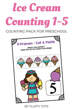 Do you have little kids who are struggling to learn counting number 1-5?   This Summer Math Activities : Ice Cream Counting 1-5 is perfect for you.Filled with lots of adorable mouth-watering ice cream and popsicle, this packet would help your kids to master counting more easily! Subtraction Activities, Math Games, Motor Skills Activities, Math Activities, Learning Numbers Preschool, Kindergarten Fun, Summer Activities For Kids, Business For Kids, Counting