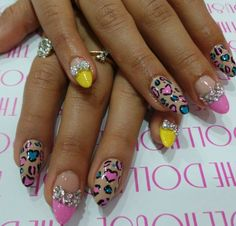 Colourful cheetah nails