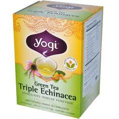 Yogi Tea, Green Tea Triple Echinacea, 16 Tea Bags, 1.12 oz (32 g) - iHerb.com. Bruk gjerne rabattkoden min (CEC956) hvis du vil handle på iHerb for første gang. Da får du $5 i rabatt på din første ordre (eller $10 om du handler for over $40), og jeg blir kjempeglad, siden jeg får poeng som jeg kan handle for på iHerb. :-)