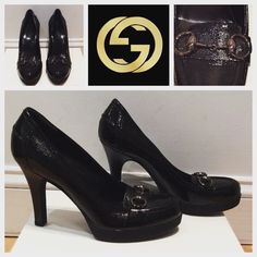 100% Authentic Gucci Heels Brand New Never Worn Gucci Black Heels! Gucci buckle on front! Rubber sole! Great for work!! Comes with original dust bag Gucci Shoes Heels