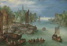 View of a City along a River, attributed to Jan Brueghel (I), c. 1630 ~ This is a typical example of the kind of landscape produced in large numbers in the workshop of Jan Brueghel I. It was probably made by his son Jan Brueghel II. The execution is freer and at the same time harder. Typical of the work of Jan Brueghel II is the way in which details, such as the church tower, are delineated with the tip of the brush.
