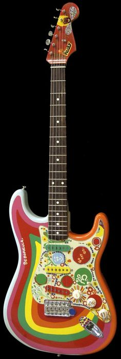 """George Harrison's """"Rocky"""" ('62 Fender Stratocaster)..you can see this hanging behind George, in his home, in the Martin Scorsese 4 hr. documentary 'George Harrison Living in the Material World'"""