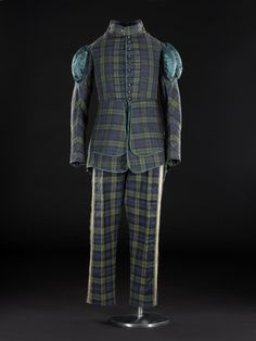 Dark green and blue tartan suit trimmed with dark green satin, part of the uniform of a member of the Royal Company of Archers: British, c. 1820.