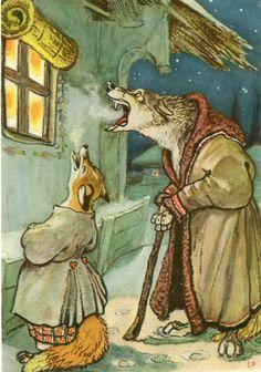 "Illustration for Ukrainian folk tale ""Wolf's Song"" by Yevgeny Rachyov, 1956"
