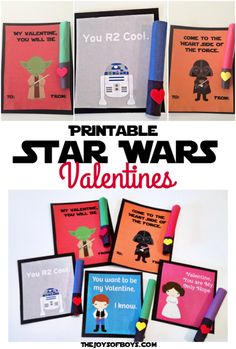 Free printable Star Wars Valentines and instructions for a simple light saber treat that children will love.
