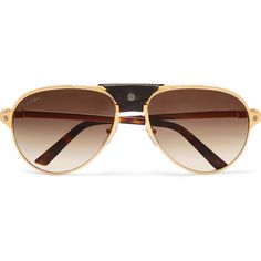 Cartier Aviator-style gold-plated and textured-leather sunglasses (14.379.205 IDR) ❤ liked on Polyvore featuring accessories, eyewear, sunglasses, gold, dark sunglasses, gradient sunglasses, dark glasses, dark aviator sunglasses and gradient aviator sunglasses