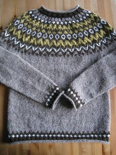 From Ístex Lopi No. Design by Védís Jónsdóttir. Eventually I will get a picture of it on it's owner. It will be blocked, and hopefully won't look so bumpy on the yoke. Knitting Wool, Fair Isle Knitting, Hand Knitting, Knitting Patterns, Handgestrickte Pullover, Icelandic Sweaters, Nordic Sweater, Fair Isle Pattern, Hand Knitted Sweaters