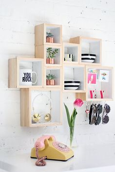 arrangement of box shelves