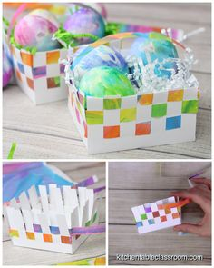 Use my free printable template to learn how to make a paper basket the easy way. This paper basket weaving is just the right size to hold a few treats or a special gift! videos How to Make a Paper Basket- Paper Basket Weaving - The Kitchen Table Classroom Paper Basket Diy, Paper Basket Weaving, Basket Crafts, Basket Gift, Comida De Halloween Ideas, Weaving For Kids, Weaving Art, Papier Diy, Christmas Tree Crafts