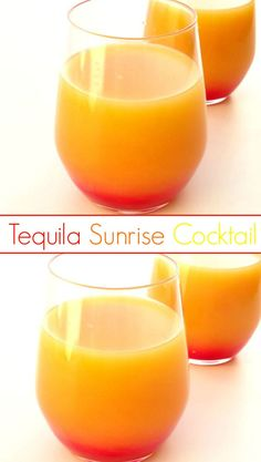 Tequila Sunrise Cocktail Recipe - the colours of this gorgeous tequila cocktail are so striking, making it the perfect WOW drink to serve guests at a party! Plus it's only made from three basic ingredients and the layering technique is so simple that an
