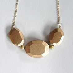 Gold Wood Jewel Necklace by Homako on Etsy