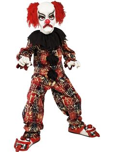 Kids Scary Clown Halloween Costume includes a red, white and blue long sleeved top, matching elasticated trousers, shoes, gloves and a scary looking clown mask with hair. Scary Clown Costume, Halloween Infantil, Joker Costume, Scary Halloween Costumes, Scary Clowns, Halloween Costume Contest, Halloween Kids, Halloween Party, Halloween Decorations