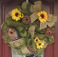 Sunflower Birdhouse Wreath by aDOORableDecoWreaths on Etsy