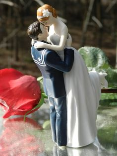 military USN Navy Sailor Wedding Cake Topper sexy pose Bride uniform Kiss Lift  OR THIS ONE