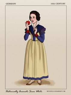 Snow White looking serious in her German outfit. 26 Historically Accurate Drawings Of Disney Princesses Worth Looking At Disney Princesses And Princes, Disney Princess Drawings, Disney Drawings, Cartoon Drawings, Arte Disney, Disney Fan Art, Disney Style, Disney Love, Sad Disney