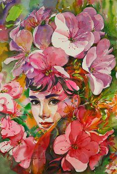 Audrey Hepburn by Korea's modern artist Ryu Eunja Art And Illustration, Arte Audrey Hepburn, Academic Drawing, Fantasy Portraits, Max Ernst, Pop Culture Art, Modern Artists, Mandala Design, Face Art