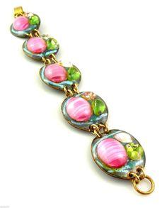 Vintage 1950s 60s Ruth Buol California Modernist Copper Enamel Glass Bracelet