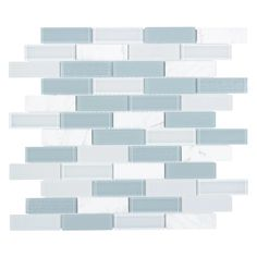 Seaside Glass Mosaic Tile for kitchen backsplash, bathroom, and shower walls. This mosaic tile is mesh mounted on a fiberglass sheet for an easy installation. Its linear pattern and nature color theme will bring elegance and life to your room. Stone Mosaic Tile, Mosaic Wall Tiles, Marble Mosaic, Mosaic Glass, Carrara Marble, Backsplash Tile, Mosaic Bathroom, Master Bathroom, Blue Mosaic Tile