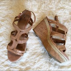 Lucky Brand Keena Rose Gold Metallic Cork Wedge Lucky Brand metallic leather cork wedges. The leather has a metallic rose gold sheen that I tried to capture in the last photo. Great sandals for spring and summer! In gently used condition, worn only a few times. Lucky Brand Shoes Wedges